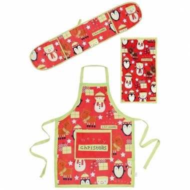 Funny keukentextiel set 3 delig rood/groen
