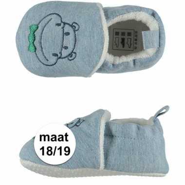 Geboorte kado jongetje baby slofjes met nijlpaard maat 18/19