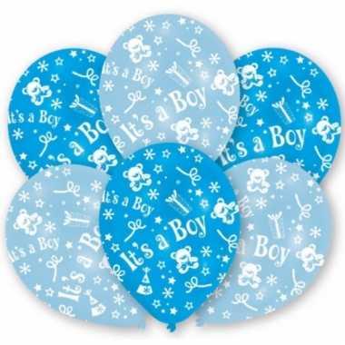 Geboortedecoratie ballonnen jongen 6 stuks