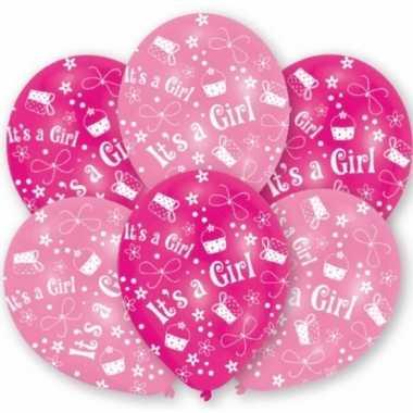 Geboortedecoratie ballonnen meisje 6 stuks
