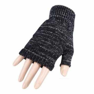 Gebreide vingerloze polsjes/handschoenen donker grijs gemeleerd voor