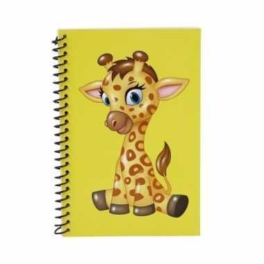Geel giraffen notitieboekje 18cm
