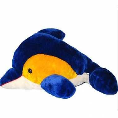 Geel met blauwe dolfijn knuffel 56 cm