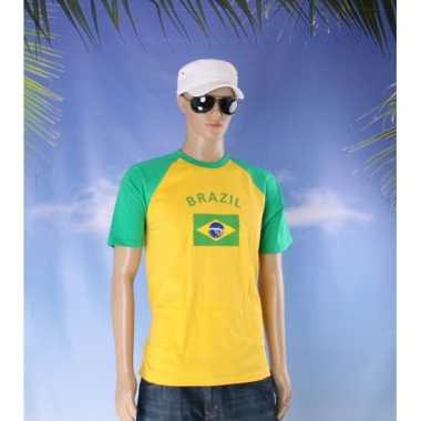 Geel met groen shirt met braziliaanse vlag