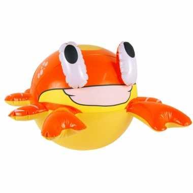 Geel met oranje opblaas krab 61 cm