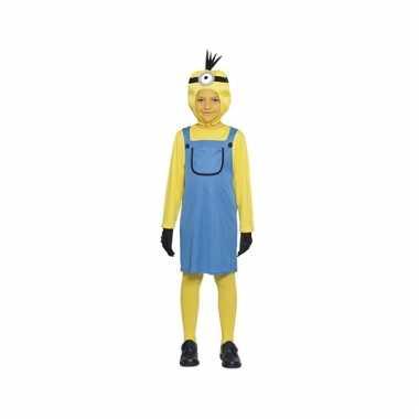 Geel pak met blauwe jurk en muts