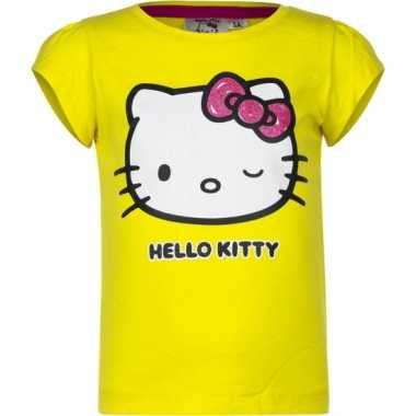 Geel shirt met hello kitty
