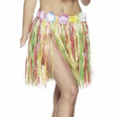 Gekleurd stro rokje hawaii 45 cm