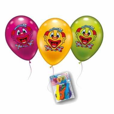 Gekleurde ballonnen met clowntjes 6x