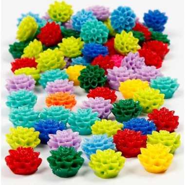 Gekleurde bloemenkralen 250 stuks