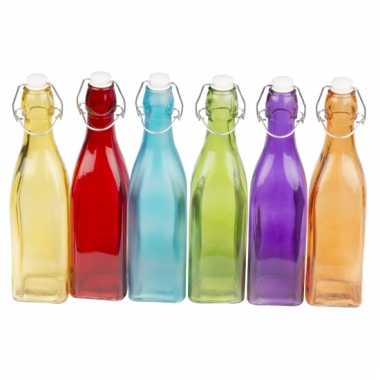 Gekleurde deco fles 27 cm