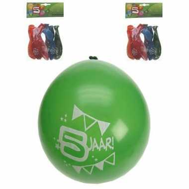 Gekleurde feest ballonnen 5 jaar