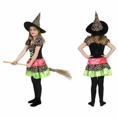 Gekleurde heksen jurk voor meisjes