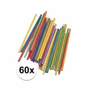 Gekleurde knutsel stokjes van hout 10 cm