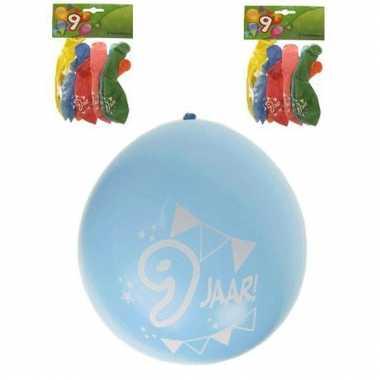Gekleurde party ballonnen 9 jaar