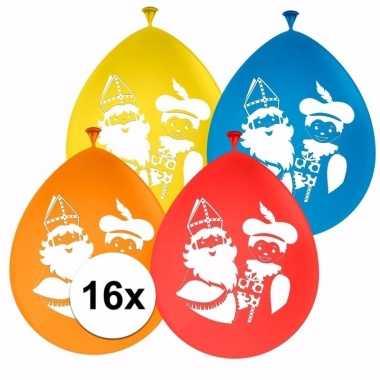 Gekleurde sint en piet ballonnen 16 stuks
