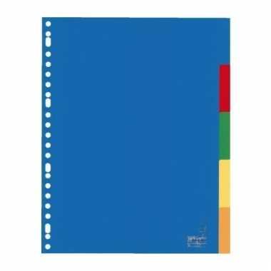 Gekleurde tabbladen a4 met 5 tabs