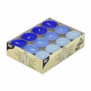 Gekleurde waxine lichtjes blauw 24 stuks