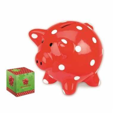 Geld varken rood met stippen