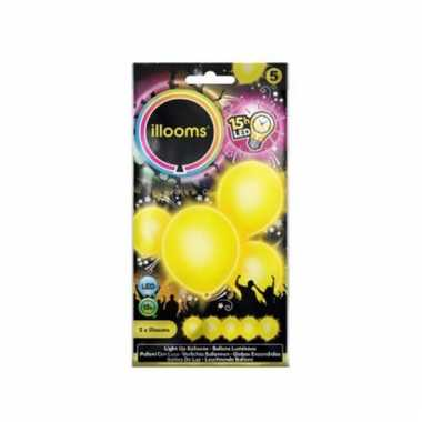 Gele ballonnen met led lichtjes 23 cm
