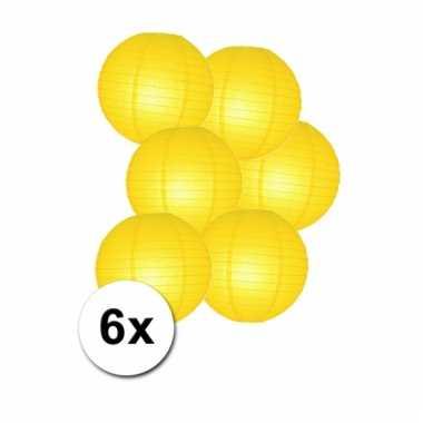 Gele bol lampionnen 25 cm 6 stuks