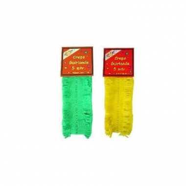 Gele en groene feest slingers