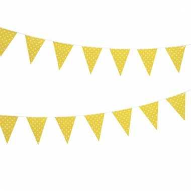 Gele feest vlaggenlijn met witte stippen 4 m