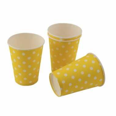 Gele feestbekertjes met witte stippen 200cm