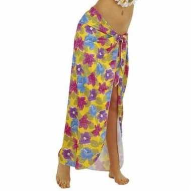 Gele hawaii verkleed sarong rok voor dames