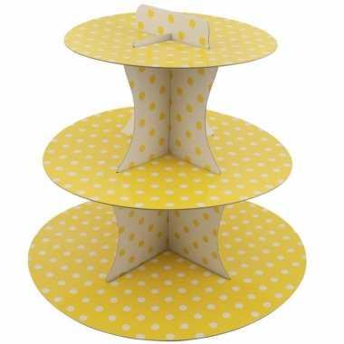 Gele high tea etagere 3 laags met witte stippen 30 cm