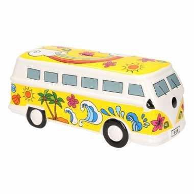 Gele hippiebus spaarpot porselein
