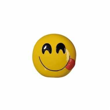 Gele spaarpot emoji tong 13 cm
