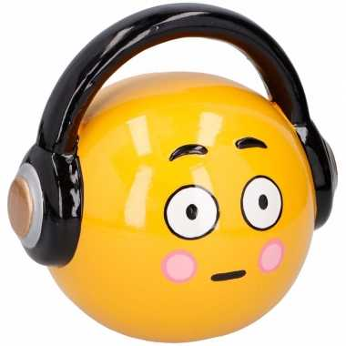 Gele spaarpot hoofdtelefoon emoji 17 cm