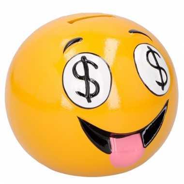 Gele spaarpot uitgestoken tong emoji 12 cm