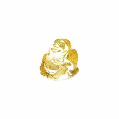 Geluksboeddha beeldje geel glas 3 cm
