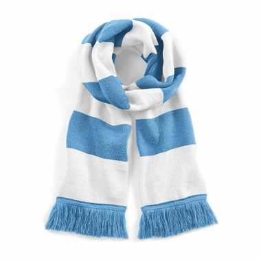 Gestreepte retro sjaal lichtblauw/wit