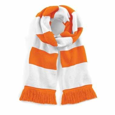 Gestreepte retro sjaal wit/oranje