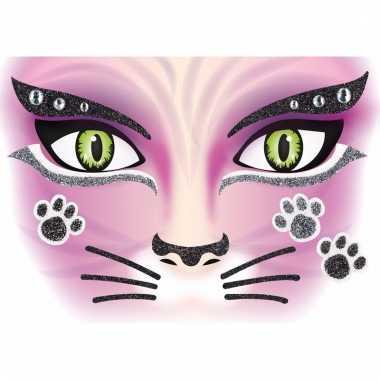 Gezicht glitter plakkers poes/kat