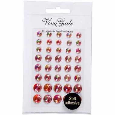 Gezicht juwelen rode parels 40 stuks