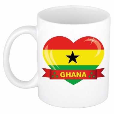 Ghanese vlag hart mok / beker 300 ml