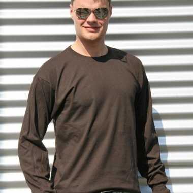 Gildan t-shirt lange mouwen bruin