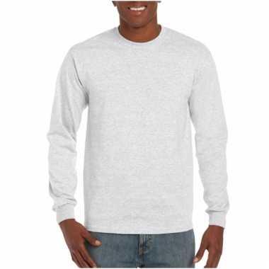 Gildan t-shirt lange mouwen lichtgrijs
