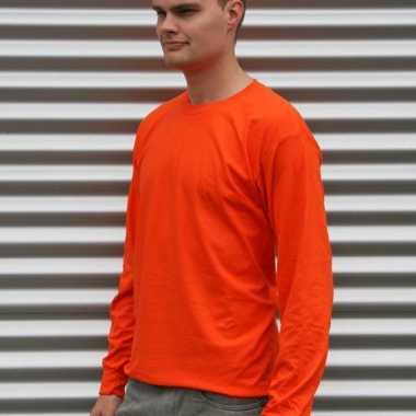 Gildan t-shirt lange mouwen oranje