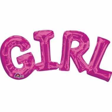 Girl geboorte folie ballon roze 55 cm