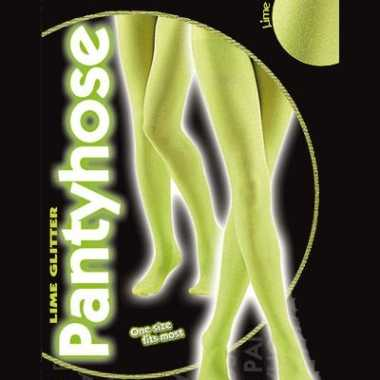 Glanzende panty limoen groen