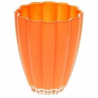 Glazen vaasje bloem oranje 17 cm
