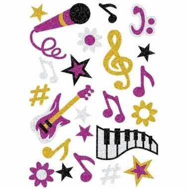 Glitter stickers muziek thema 1 stuks