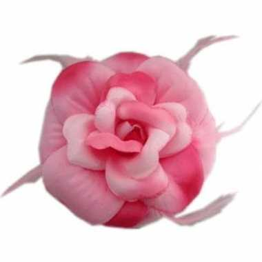 Glitterbloem speld of elastiek roze