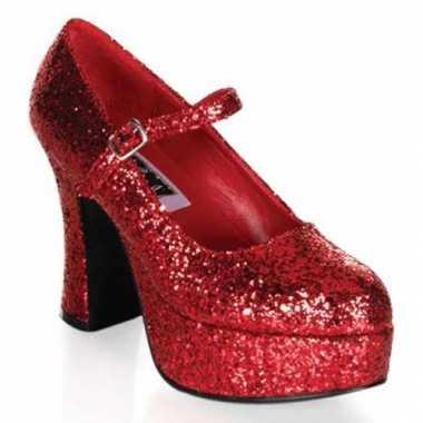 Glitterschoenen dames rood