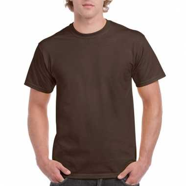 Goedkope gekleurde shirts donker chocoladebruin voor volwassenen